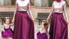 Tesettürlü Anne Kız Elbise Kombin Modelleri