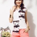 Şeritli bayan kolsuz gömlek modeli