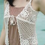 Askılı ip bağcıklı bayan yazlık yelek modeli