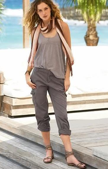 Cepli bayan keten pantolon modeli