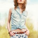 Cepli bayan kolsuz gömlek modeli