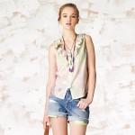 Fırfırlı bayan kolsuz gömlek modeli
