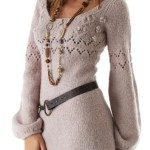 Geniş yakalı bayan örgü tunik modeli