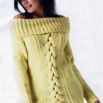 Limon sarısı bayan örgü tunik modeli