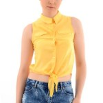 Limon sarısı bayan kolsuz gömlek modeli
