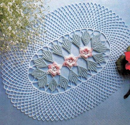 Ortası çiçekli tepsi örtüsü modeli