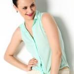 Su yeşili bayan kolsuz gömlek modeli