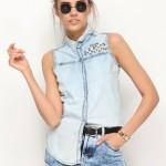 Zımbalı bayan kolsuz gömlek modeli
